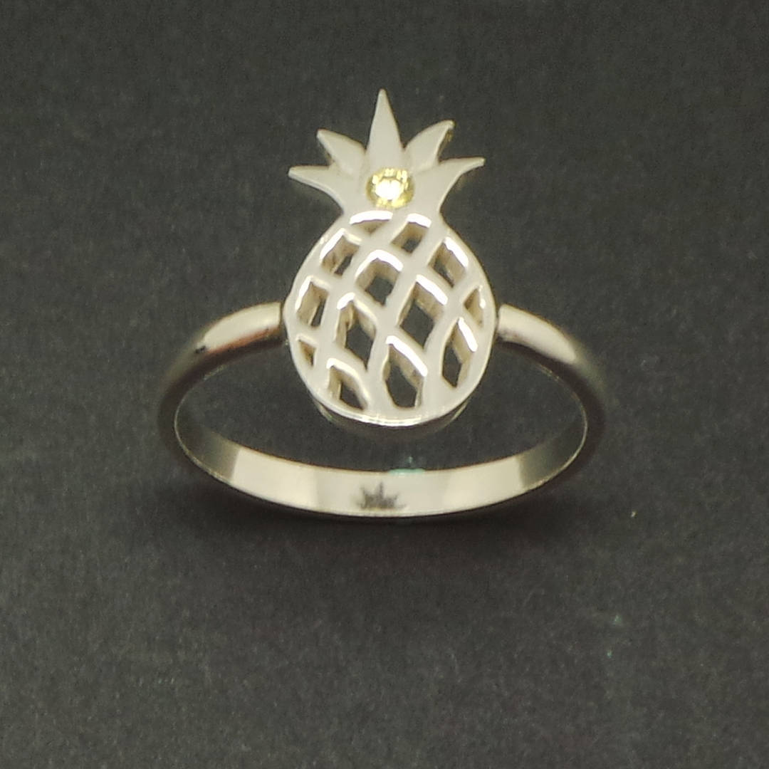 Handmade 925 Sterling Silver Pineapple Ring - Fruit Jewelry, US Size 4 - 14