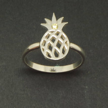 Handmade 925 Sterling Silver Pineapple Ring - Fruit Jewelry, US Size 4 - 14 - $42.00