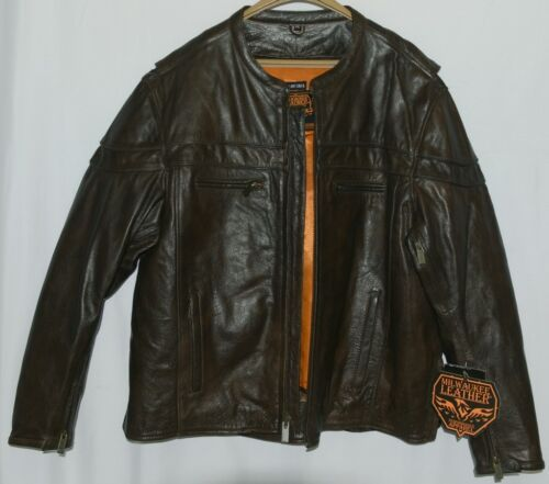 Milwaukee Leather ML1408RT Brown Leather Jacket Size 4XL