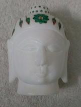 Buddha Meditating Head Statue stone Inlay Work White Marble 5 INCH - $32.92