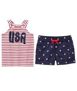 Gymboree Red White & Cute 5 Striped USA Top Star Shorts 4th July NWT Pat... - $13.09