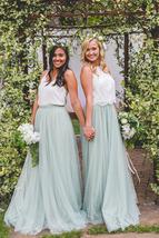 SAGE GREEN Women Tulle Maxi Skirt Sage Green Wedding Tulle Bridesmaid Skirt Maxi image 7