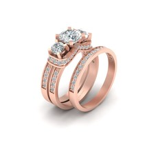 2.10cttw Diamond Engagement Ring Matching Eternity Band Set Solid 10k Ro... - $1,579.99