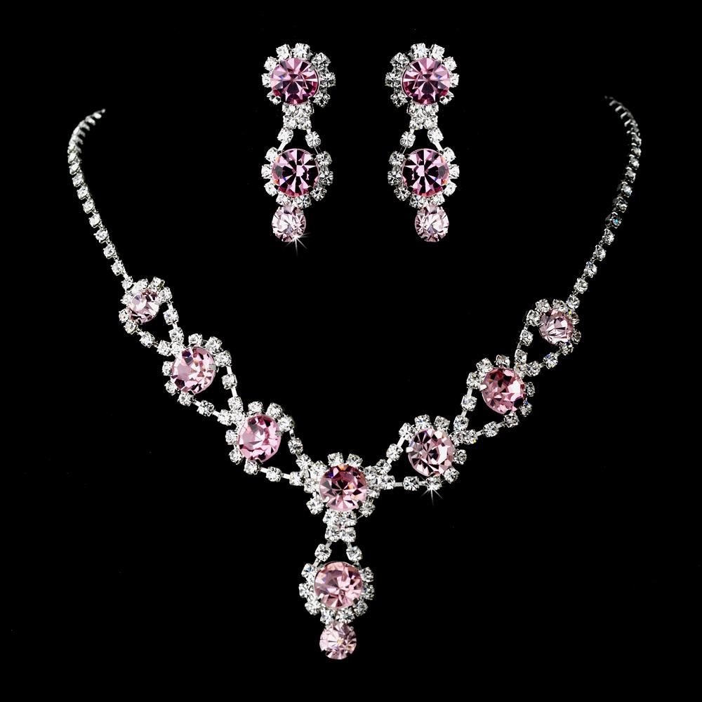 Rose pink swarovski crystal bridesmaid necklace set for Pink wedding jewelry sets