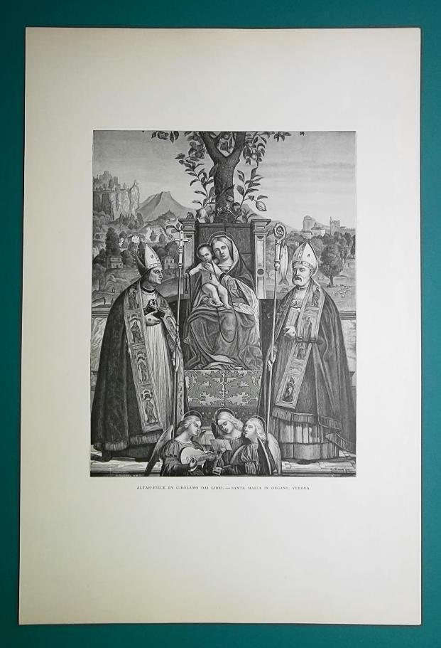 ITALY Altar Church S. Maria in Oregano Verona by Girolamo - 1888 Original Print