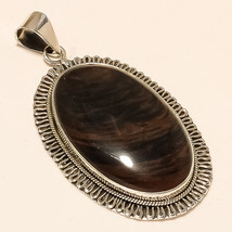 Natural Namibia Marconi Obsidian Pendant 925 Sterling Silver Tribal Jewelry Gift - $28.71