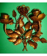 Italian Floral Gilt Metal Wall Sconce Mid Century Candle Holder - $95.00