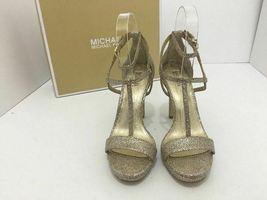Michael Kors Simone Women's Evening High Heels Sandals Silver Sand Glitter 7 M image 7