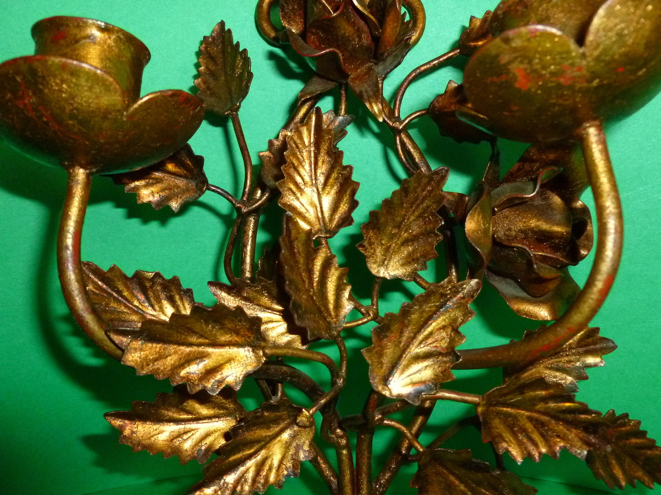 Italian Floral Gilt Metal Wall Sconce Mid Century Candle Holder