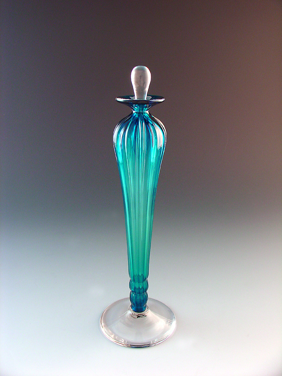 Blown Glass Perfume Bottle Turquoise
