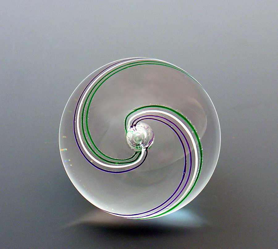 Racer Paperweight - Amethyst/Emerald/White Cane