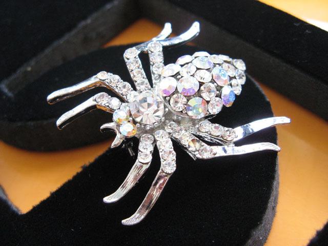 ALLOY SPIDER HANDMADE CRYSTAL WEDDING COMB BRIDE BROOCH BRIDAL ACCESSORIES H14