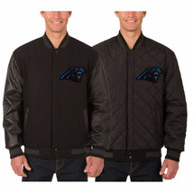 Carolina Panthers Wool & Leather Reversible Jacket with Embroidered Logos Black - $269.99