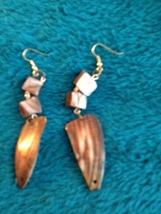 stone shell reversible pierced earrings  - $19.99