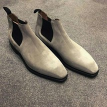 Handmade Men Gray Casual Suede Chelsea boots, Men gray ankle boots, Mens boots - $179.99