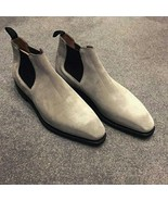Handmade Men Gray Casual Suede Chelsea boots, Men gray ankle boots, Mens... - $179.99