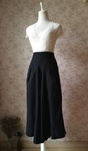Black WIDE LEG Linen Pants Trousers High Waisted Linen Pants Women Palazzo Pants image 2