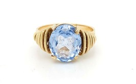 14k Yellow Gold Vintage Women's Ring With Blue Topaz December Birthstone - $439.45