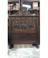 Pair of European Walnut Beds Catholic Historical Beds St Bernard Carving... - $66,379.50