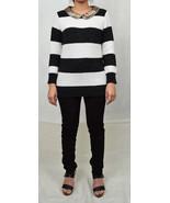 Pim Larkin Black White Stripe Gold Sequin Collar Knit Sweater XS - $39.10