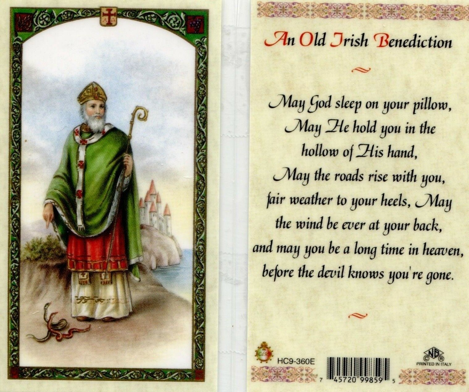 Primary image for An Old Irish Benediction Laminated Prayer Card - Item EB219 - Catholic Laminated