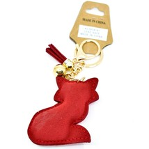 Pave Crystal Accent 3D Stuffed Pillow Red Fox Keychain Key Chain New w Tag image 2
