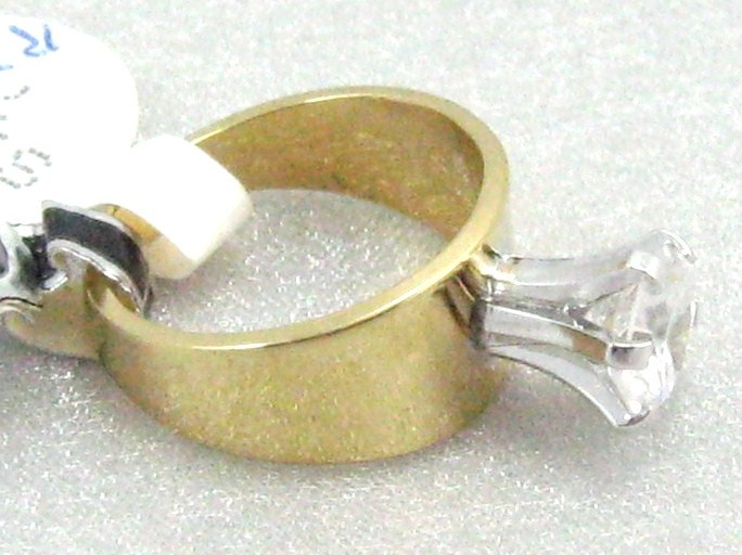 18KT GOLD P. OVERLAY 8mm CUBIC ZIRCONIA WIDE BAND COCKTAIL Ring sz 6-7