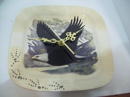 "8"" Ceramic Eagle J. Weins Wall Clock Recycled Re-purposed Plate Clock - $19.75"