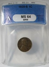 1935-S Lincoln Cent ANACS MS64 BR Nice Toning Coin AK458 - $62.79