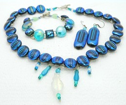 VTG Silver Tone Blue Purple AB Art Glass Fish Dangle Necklace Bracelet E... - $49.50