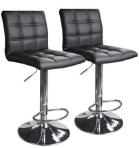 Modern Square Faux Leather Adjustable Bar Stools Counter Height Swivel S... - $104.68