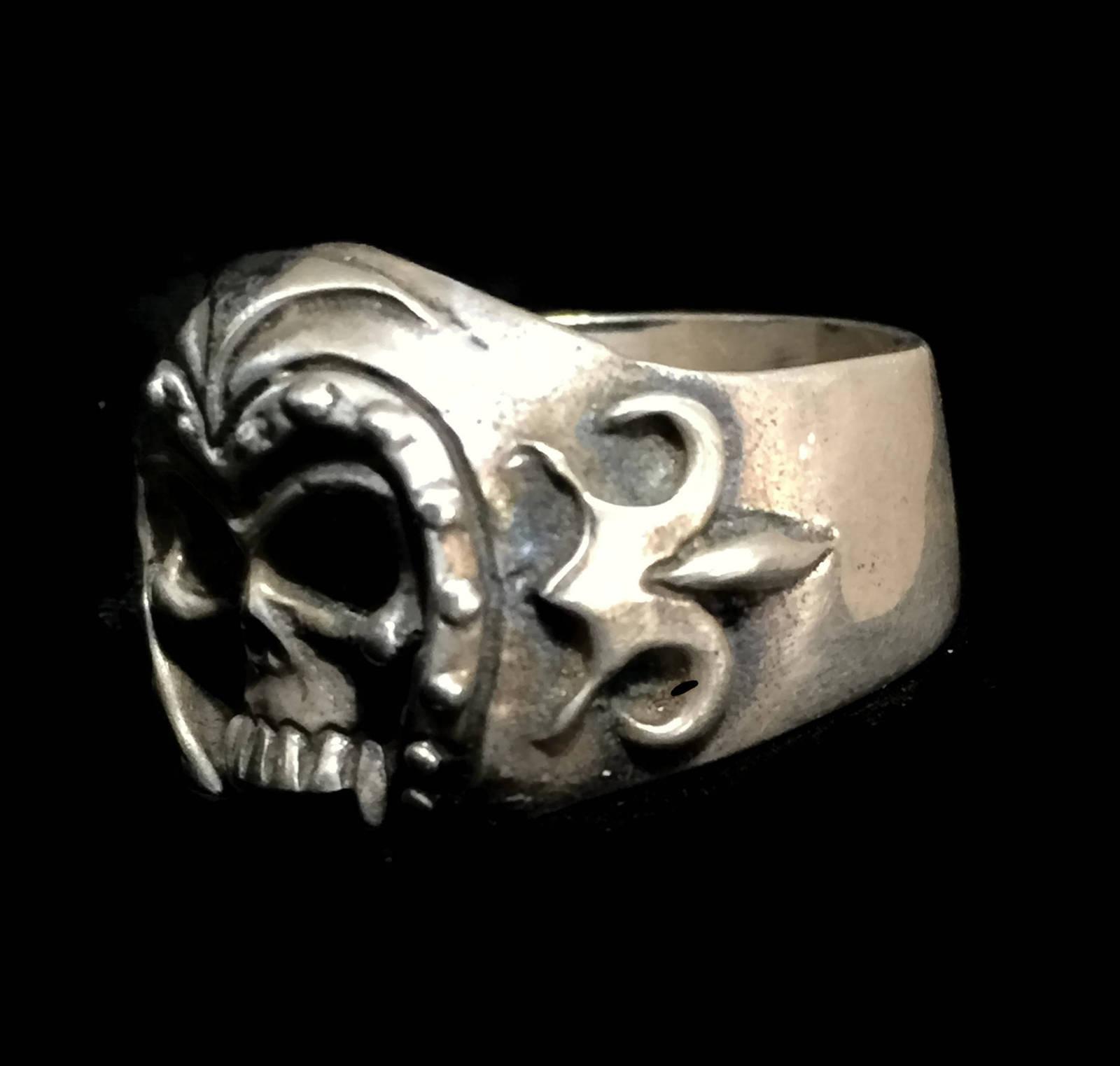 Vintage Men Skull Biker Sterling Silver Gothic Punk Ring w Helmet Size 12