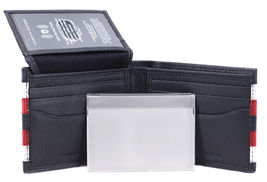 Tommy Hilfiger Men's Leather Wallet Passcase Billfold RFID Navy Red 31TL220104 image 10