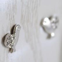 White Gold Earrings 750 18K for Girl, Chicks, Length 0.9 cm, with Zircon image 2