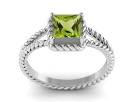 Solid Shining Peridot Gemstone 925 Sterling Silver Women Ring Sz 7 SHRI1217 - $17.35