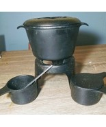7 piece Black Cast Iron Fondue Set Pot Stand  - $24.72