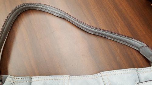 Tignanello Bluish Grey Leather Shoulder Bag Organizer Hobo Buckle Accent, EUC  image 3