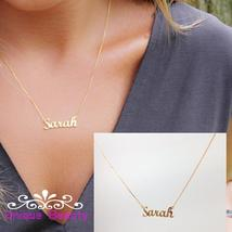 Custom Name Necklace Gold Personalized Nameplate 925 Solid Silver Neckla... - $29.99+