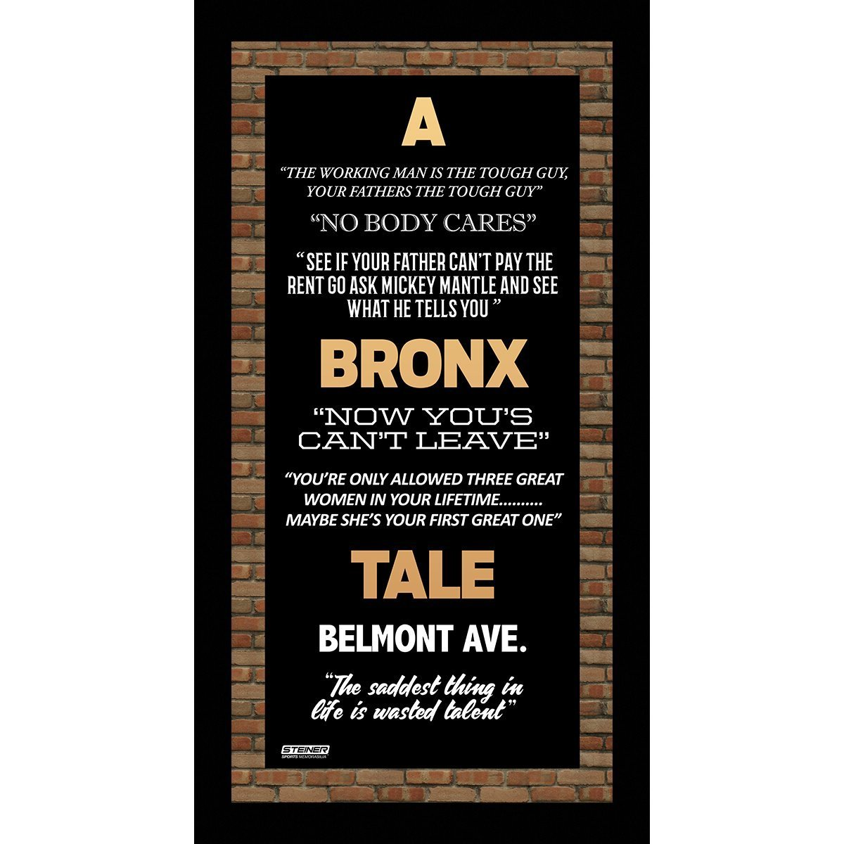 A bronx tale quotes 16 x 32 framed subway sign other for Lista de precios subway