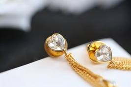 Authentic Christian Dior Sous Les Etoiles Earrings Gold Crystal Dangle Drop image 6