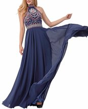 Womens 2018 Halter Embroidery Navy Homecoming Dresses Open Back Long Prom Dress  - $128.99