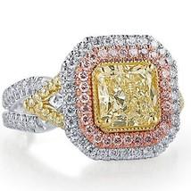 GIA 2.56 Ct Yellow VVS2 Radiant Cut Diamond Engagement Ring 18k White Gold   - $9,503.01