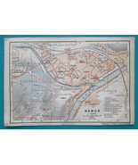 "1905 BAEDEKER MAP - Belgium Namur City Town Plan 4"" x 6"" (10 x 15 cm) - $6.75"