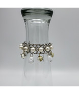 Two Fashion Charm Bracelets Silver Faux Pearls - $20.00