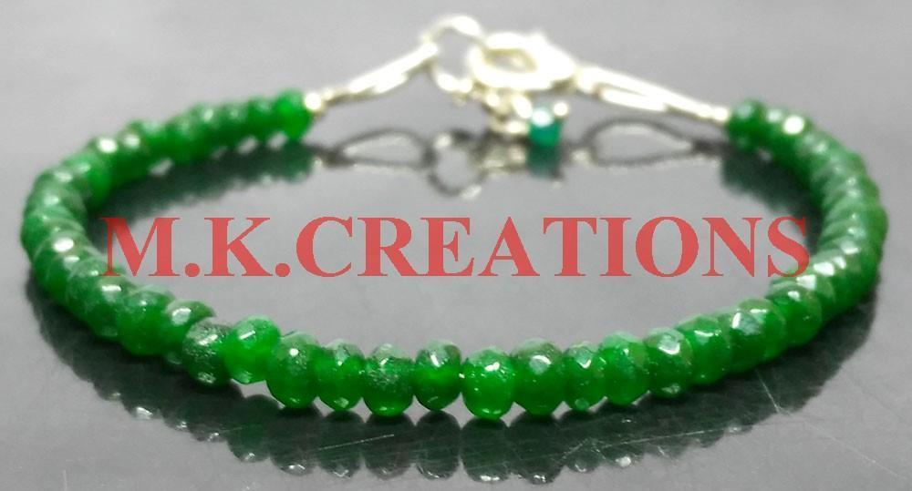 "Primary image for Natural Green Jade 3-4mm Beads 6"" Long 925 Silver Beaded Chain Bracelet"