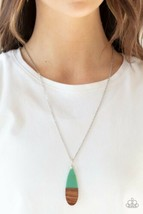 Paparazzi GOING OVERBOARD Teardrop Wood & Green Necklace Set - $5.00