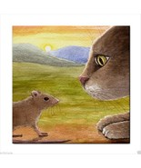 Ceramic Tile Coaster from art painting Cat 560 mouse - $13.99