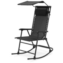 Folding Zero Gravity Rocking Chair w Large Canopy & Headrest Porch Outdo... - $79.19