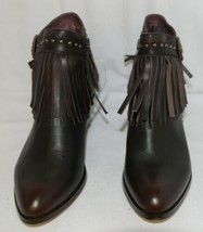 Lucky And Blessed SH11 Dark Brown Leather Boots Fringe Metal Studs Size 11 image 2
