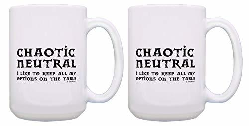 Funny Gamer Mugs Chaotic Neutral Keep All of My Options on the Table 2 Pack 15-o